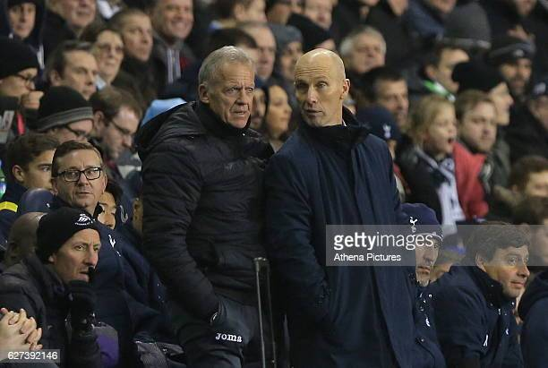 Alan Curtis, First-team coach of Swansea City with Swansea City manager Bob Bradley during the Premier League match between Tottenham Hotspur and...