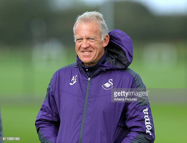Alan Curtis watches THE PLAYERS during the Swansea City Training at The Fairwood Training Ground on September 29, 2016 in Swansea, Wales.