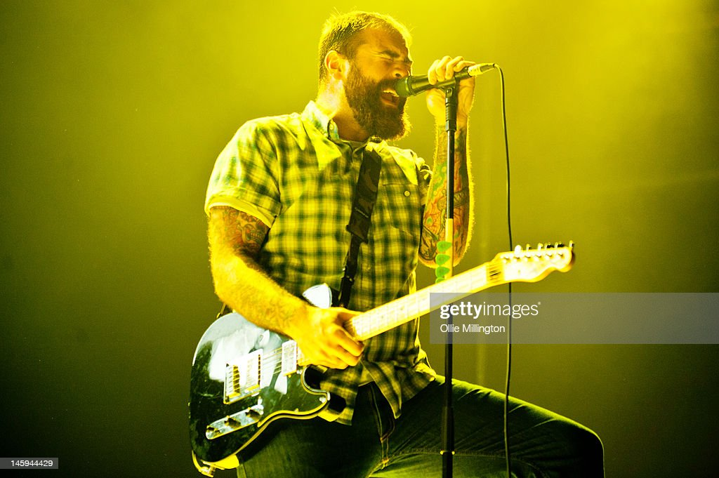 Alan Day of Four Year Strong performs on stage supporting Blink 182 on the opening night of their European 2012 tour at NIA Arena on June 7, 2012 in Birmingham, United Kingdom.