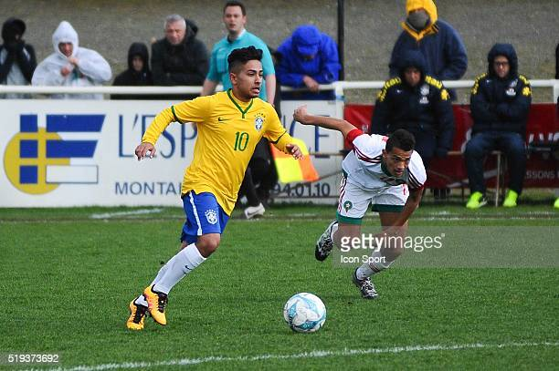 Alan De Souza Guimaraes during the U16 Mondial football match between Brazil and Marocco on March 28 2016 in Montaigu France