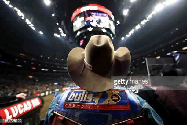 Alan de Souza of Brazil looks on from the chute area during the PBR Iron Cowboy at Staples Center on February 23 2019 in Los Angeles California