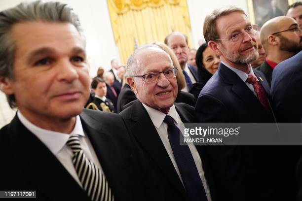 Alan Dershowitz , impeachment defense lawyer for US President Donald Trump, attends the announcement of Trump's Middle East peace plan in the East...
