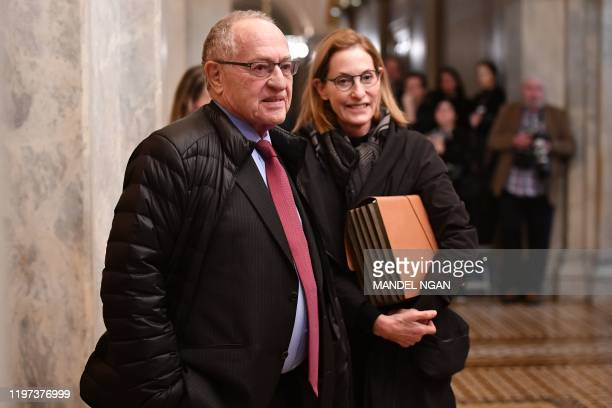 Alan Dershowitz, impeachment defense lawyer for US President Donald Trump, arrives during the impeachment trial of US President Donald Trump on...
