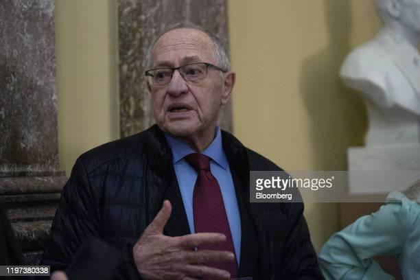 Alan Dershowitz lawyer for President Donald Trump speaks to members of the media at the US Capitol in Washington DC US on Wednesday Jan 29 2020...