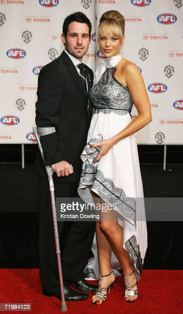 Alan Didak of the Collingwood Magies and his partner Cassie Lane arrive for the 2006 AFL Brownlow Medal Dinner at Crown Casino September 25, 2006 in...
