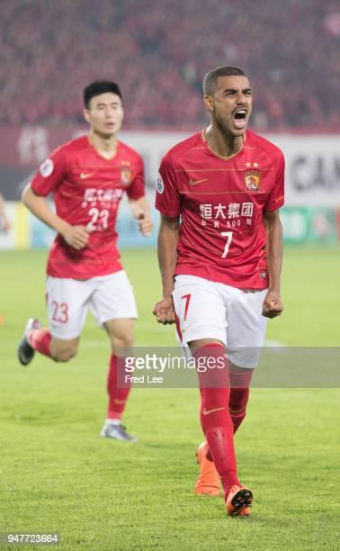 Alan Douglas Borges de Carvalho of Guangzhou Evergrande Taobao celebrates scoring his team's goal during the 2018 AFC Champions League Group G match...