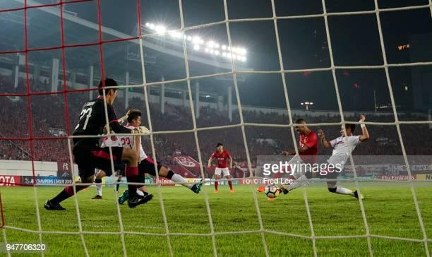 Alan Douglas Borges de Carvalho of Guangzhou Evergrande Taobao scores his team's goal during the 2018 AFC Champions League Group G match between...