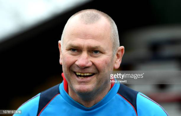 Alan Dowson manager of Woking smiles prior to the FA Cup Third Round match between Woking and Watford at Kingfield Stadium on January 6 2019 in...