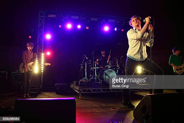 Alan Duggan Adam Faulkner and Dara Kiely of Girl Band perform live on day 1 of Field Day festival on June 11 2016 in London England