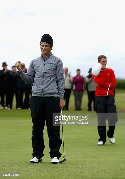 Alan Dunbar celebrates holing the winning putt on the 18th green during the Final of the 2012 Amateur Championships between Alan Dunbar of Rathbone...