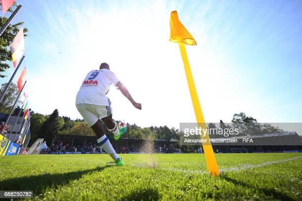 Alan Dzabana of Olympique Lyonnais takes a cornerduring the Final match between Olympique Lyon vs RSC Anderlecht on day two of the Blue Stars/FIFA...