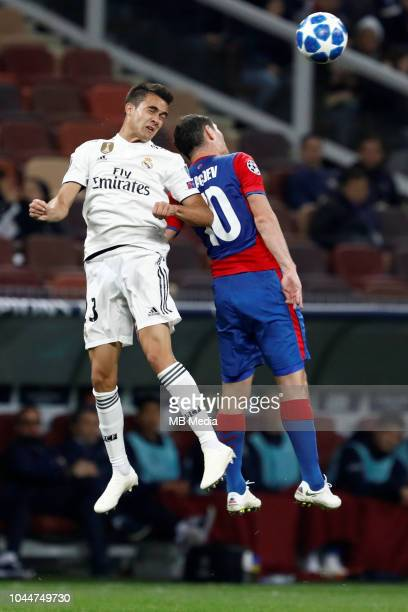 Alan Dzagoev of CSKA Moscow and Sergio Reguilon of Real Madrid vie for a header during the Group G match of the UEFA Champions League between CSKA...