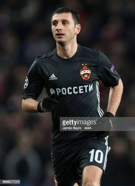 Alan Dzagoev of CSKA Moscow during the UEFA Champions League group A match between Manchester United and CSKA Moskva at Old Trafford on December 5...