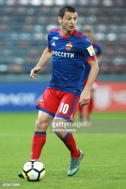 Alan Dzagoev of CSKA Moscow in action during the UEFA Champions League 3rd Qualifying Round match between CSKA Moscow and AEK at CSKA VEB Arena in...