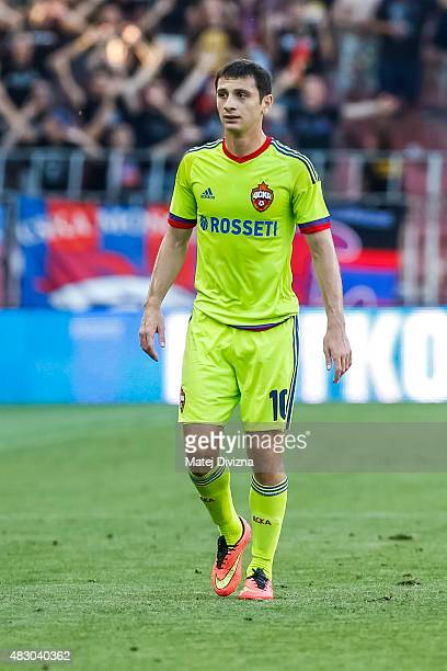 Alan Dzagoev of CSKA Moscow in action during the UEFA Champions League Third Qualifying Round 2nd Leg match between Sparta Prague and CSKA Moscow...