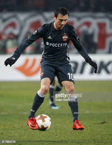 Alan Dzagoev of CSKA Moscow in action during UEFA Europa League Round of 32 match between Crvena Zvezda Belgrade and CSKA Moscow at the Rajko Mitic...