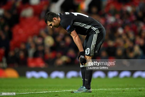 Alan Dzagoev of CSKA Moscow look dejected during the UEFA Champions League group A match between Manchester United and CSKA Moskva at Old Trafford on...