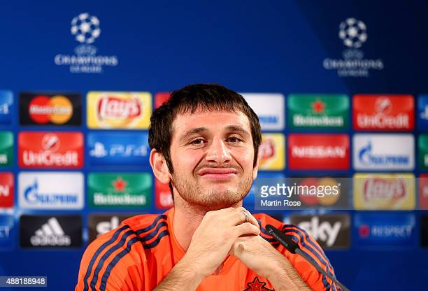 Alan Dzagoev of Moscow attends the press conference ahead of the UEFA Champions League group B match between VfL Wolfsburg and CSKA Moscow on...