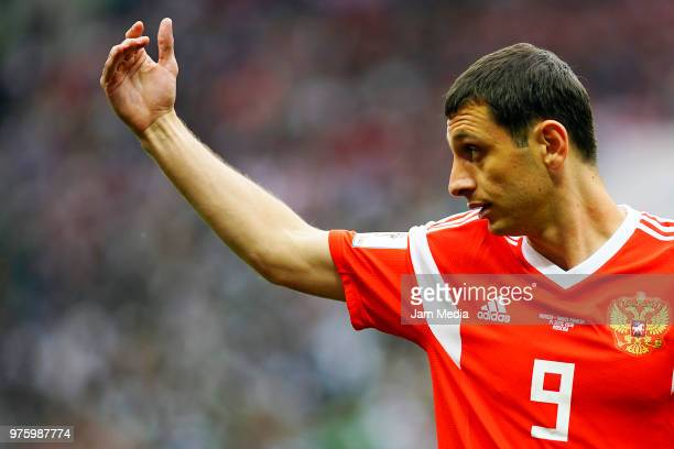 Alan Dzagoev of Russia gestures during the 2018 FIFA World Cup Russia group A match between Russia and Saudi Arabia at Luzhniki Stadium on June 14...
