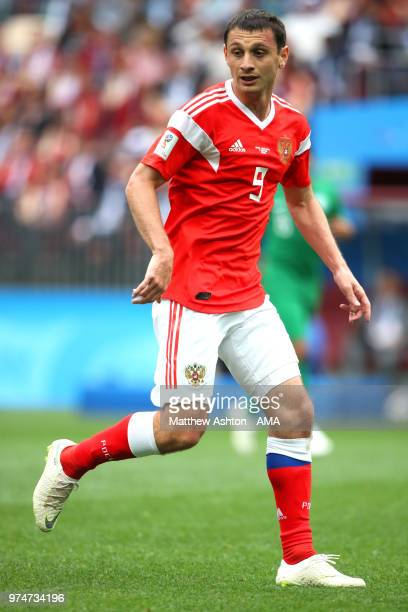 Alan Dzagoev of Russia in action during the 2018 FIFA World Cup Russia group A match between Russia and Saudi Arabia at Luzhniki Stadium on June 14...