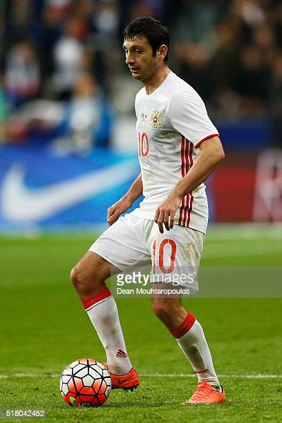 Alan Dzagoev of Russia in action during the International Friendly match between France and Russia held at Stade de France on March 29 2016 in Paris...