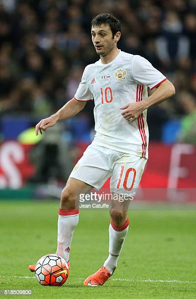 Alan Dzagoev of Russia in action during the international friendly match between France and Russia at Stade de France on March 29 2016 in SaintDenis...