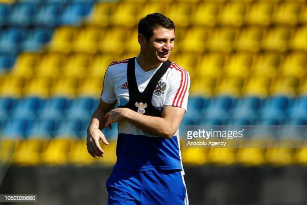 Alan Dzagoev of Russia National team attends a training session ahead of UEFA Nations League Group 2 of League B soccer match between Russia and...