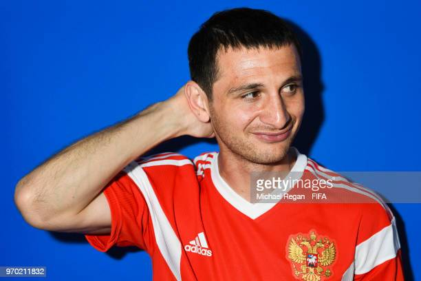 Alan Dzagoev of Russia poses during the official FIFA World Cup 2018 portrait session at on June 8 2018 in Moscow Russia