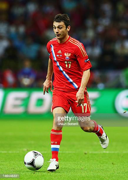 Alan Dzagoev of Russia runs with the ball during the UEFA EURO 2012 group A match between Greece and Russia at The National Stadium on June 16 2012...