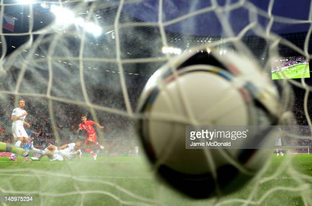 Alan Dzagoev of Russia scores their opening goal during the UEFA EURO 2012 group A match between Russia and Czech Republic at The Municipal Stadium...