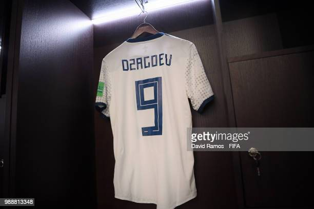 Alan Dzagoev's shirt hangs inside the Russia dressing room prior to the 2018 FIFA World Cup Russia Round of 16 match between Spain and Russia at...