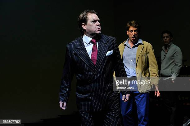 Alan Ewing as Lady Bracknell Paul Curievici as John Worthing and Simon Wilding as Lane in the Royal Opera's production of Gerald Barry's The...