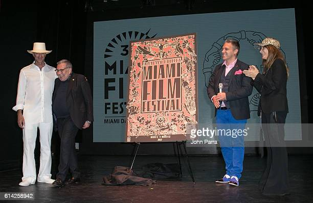 Alan Faena Artist Juan Gatti Festival Director Jaie Laplante and Ximena Caminos attend Miami Film Festival 34th Edition Poster Unveiling at Faena...
