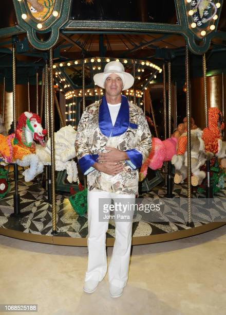 Alan Faena poses infront of artwork by Raul De Nieves presented by Bvlgari Art Production Fund during Art Basel Miami Beach 2018 at Faena Hotel on...