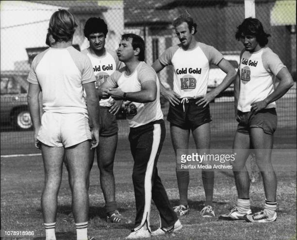 Alan Fallah, Brian Burke, Peter Kirkland.The Country Rugby League coach shows his antics as he addresses the Country team at the S.C.G. No. 2. April...
