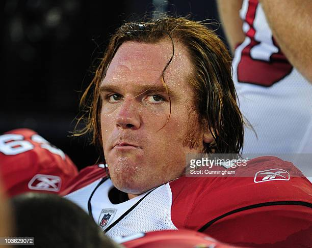 Alan Faneca of the Arizona Cardinals watches the action against the Tennessee Titans during a preseason game at LP Field on August 23 2010 in...
