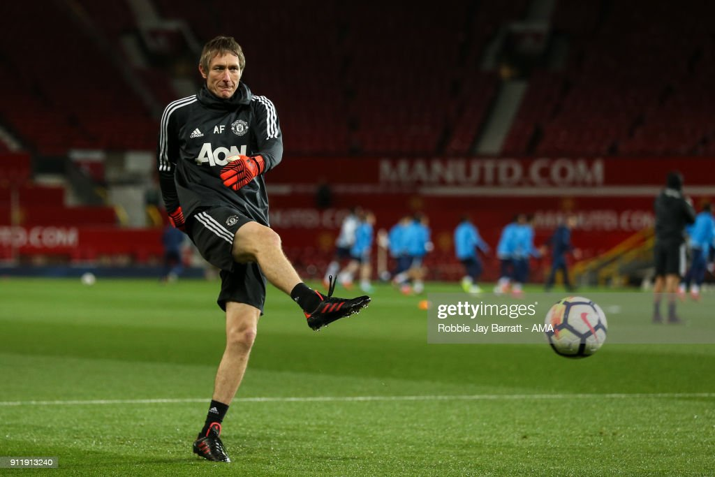 Alan Fettis goalkeeper coach of Manchester Untied during the Premier League 2 match between Manchester United and Tottenham Hotspur at Old Trafford on January 29, 2018 in Manchester, England.