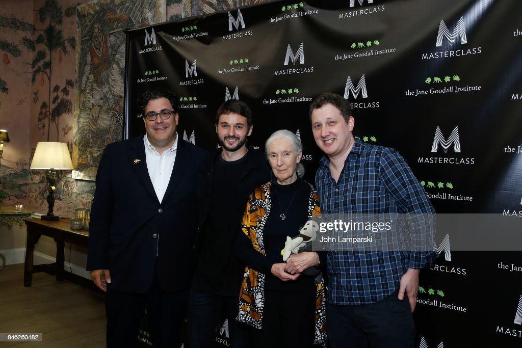 Alan Fleischman, Senior VP of Talent and Business Development of MasterClass, Matthew Rutler, Dr. Jane Goodall and CEO of MasterClass, David Rogier attend 'Dr. Jane Goodall's MasterClass' New York screening at the Whitby Hotel on September 12, 2017 in New York City.