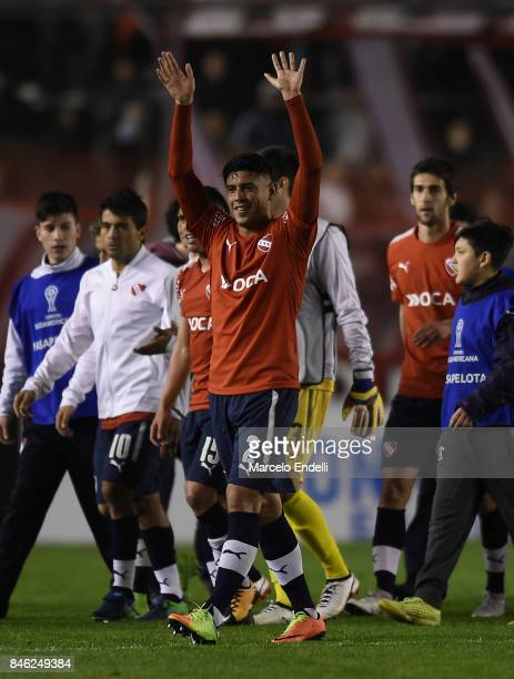 Alan Franco of Independiente celebrates after winning the second leg match between Independiente and Atletico Tucuman as part of round of 16 of Copa...