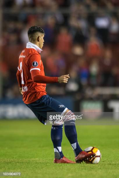 Alan Franco of Independiente controls the ball during a match between Independiente and Deportivo Lara as part of Copa CONMEBOL Libertadores 2018 on...
