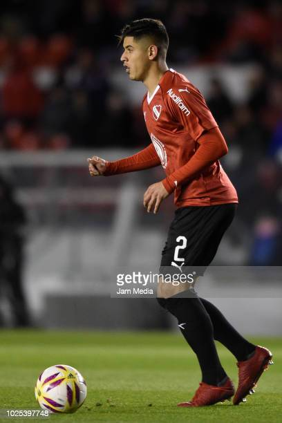 Alan Franco of Independiente drives the ball during a match between Independiente and Defensa y Justica as part of Superliga 2018/19 at Estadio...
