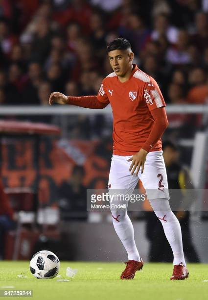 Alan Franco of Independiente drives the ball during a match between Independiente and Boca Juniors as part of Superliga 2017/18 on April 15 2018 in...
