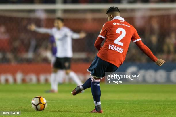 Alan Franco of Independiente passes the ball during a match between Independiente and Deportivo Lara as part of Copa CONMEBOL Libertadores 2018 on...
