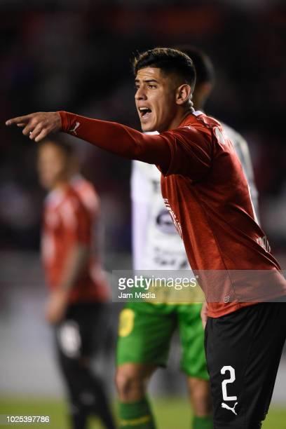 Alan Franco of Independiente signals during a match between Independiente and Defensa y Justica as part of Superliga 2018/19 at Estadio Libertadores...