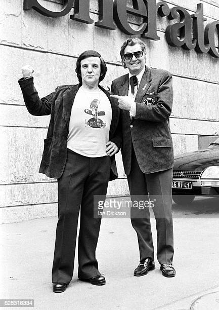 Alan Freeman with swimmer and actor Johnny Weissmuller at Sheraton Hotel Paris 1973