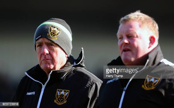 Alan Gaffney Coach of Northampton Saints during the Aviva Premiership match between Exeter Chiefs and Northampton Saints at Sandy Park on February 24...
