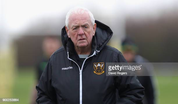 Alan Gaffney the Northampton Saints technical coaching consultant looks on during his first Northampton Saints training session held at Franklin's...
