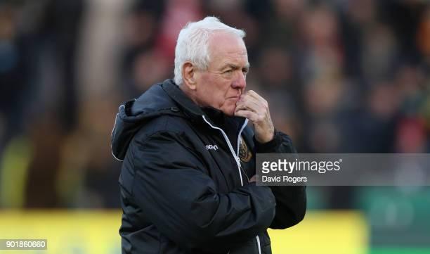 Alan Gaffney the Northampton Saints technical coaching consultant looks on during the Aviva Premiership match between Northampton Saints and...