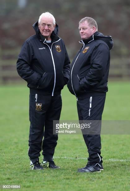 Alan Gaffney the Northampton Saints technical coaching consultant talks to Saints forwards coach Dorian West during his first Northampton Saints...