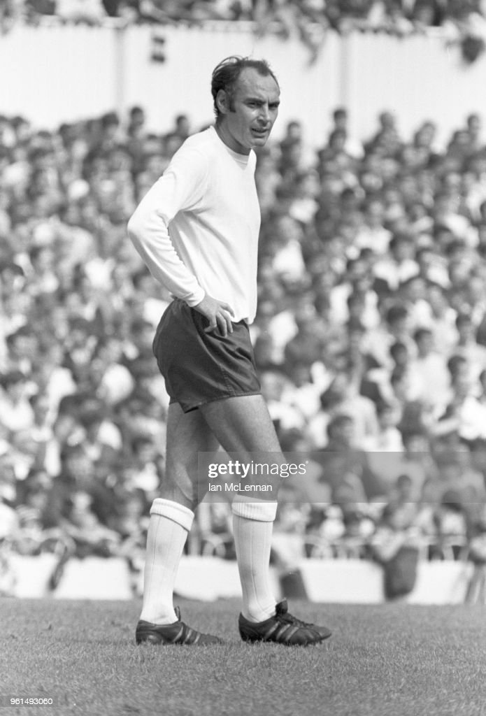 Alan Gilzean of Tottenham and Scotland international playing for Tottenham Hotspur against Liverpool FC, in the Football League division 1, at White Hart Lane London on 16th August 1969.